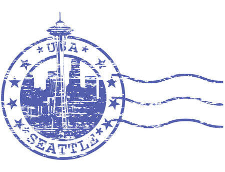 Shabby stamp with cityscape of Seattle - sights of USA