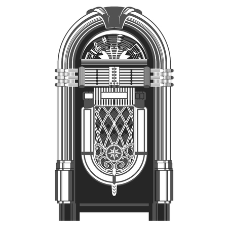 ジュークボックス - 自動レトロな音楽再生デバイス  イラスト・ベクター素材