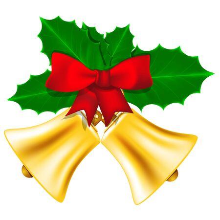 Goldene Weihnachtsglocken mit roter Schleife und Blätter der Stechpalme