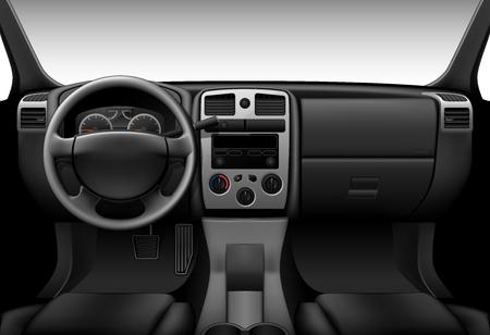 트럭 인테리어 - 자동차의 내부보기 대시 보드 일러스트