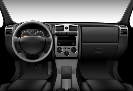 Truck interieur - inside view van de auto, dashboard