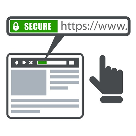 Secure online payment icon - green bar with ssl and browser Illustration