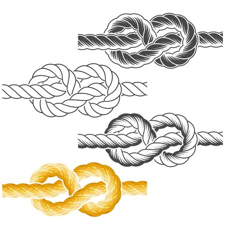 Rope knots in full-color, textured and contour drawings Illustration