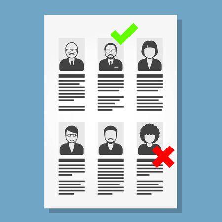 la inserción laboral y la contratación de personas - lista de archivos cv Ilustración de vector