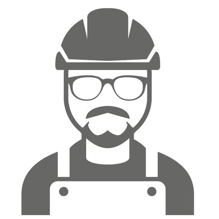 Constructor en sombrero duro y vidrios - icono del capataz