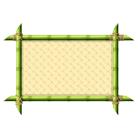 Bamboo frame with wicker pattern isolated on white Stock Illustratie