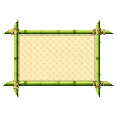 Bamboe frame met rieten patroon op wit wordt geïsoleerd Stockfoto - 58965785