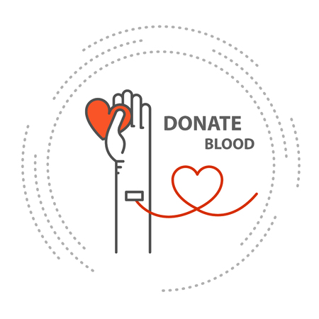 Donate blood - hand with tube in vein, blood donor concept