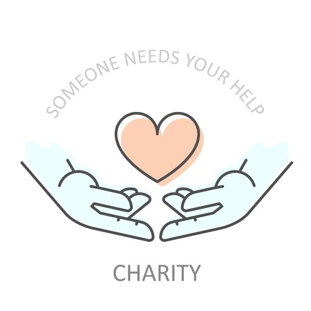 Hands holding heart - charity or philanthropy poster, donation help concept