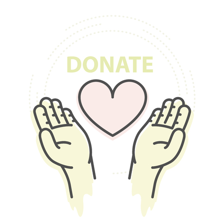 Hands hold heart - charity, donation and help concept Ilustração