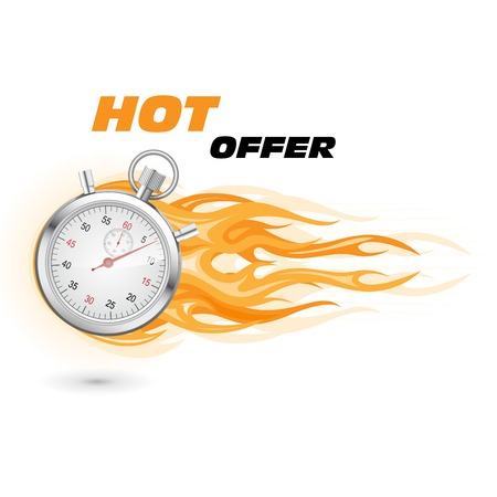 Stopwatch in flame - special, hot, limited time offer Illustration