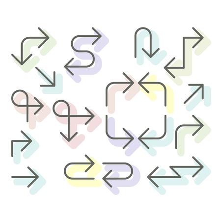 Thin arrows set - navigational simple line arrows for website or app Illustration
