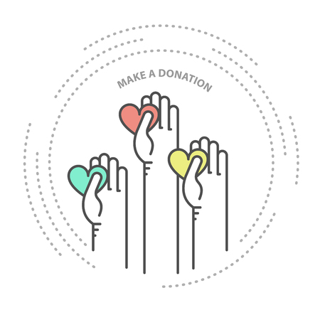 Charity, donation and philanthropy concept icon - hands with heart, help Illustration