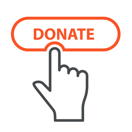 Finger press Donate button - charity and crowdfunding concept icon