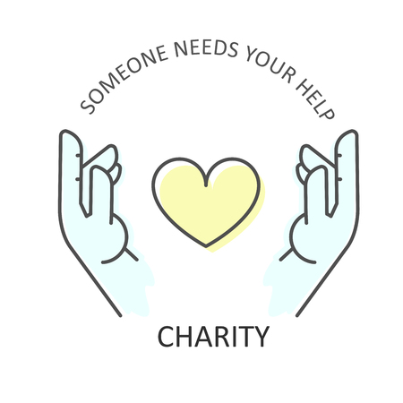 Hands embraces heart - charity, donation and volunteer help concept