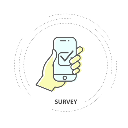 Online survey - checkbox on smartphone screen, hand holds smartphone and votes