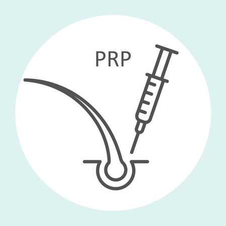 Platelet rich plasma icon, prp therapy, stop hair loss icon - syringe and hair Vectores