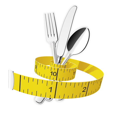 Diet and lose weight concept - measuring tape tighten fork, spoon and knife