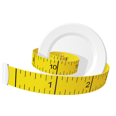Diet and lose weight concept - measuring tape tighten plate Фото со стока - 123061613