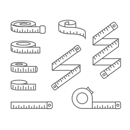 Measuring tape icons - reel, tape measure and bobbin, diet and lose weight concept Illustration