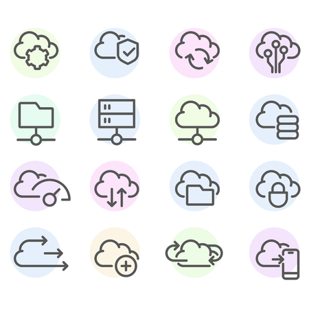 Set of computer cloud line icons -  data synchronisation, transfer, cloud computing settings icons Ilustração