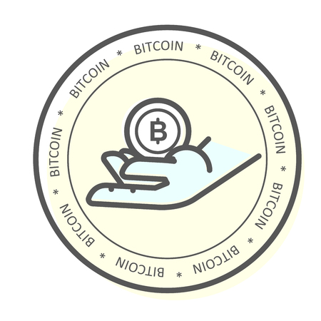We accept bitcoin icon -  hand with bitcoin, payment with cryptocurrency