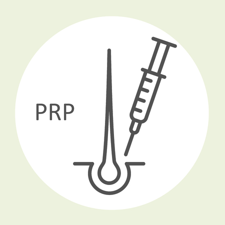 PRP therapy icon - hair loss prevention, hair root injections