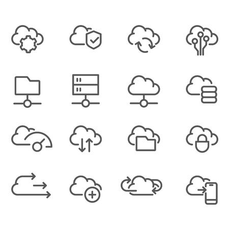 Cloud computing line icons set -  data sync, transfer, cloud storage