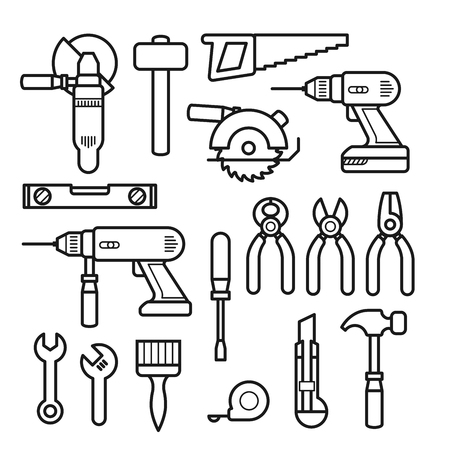 Work tools line icons - puncher, drill, wrench, plane, saw, pliers and construction tools kit