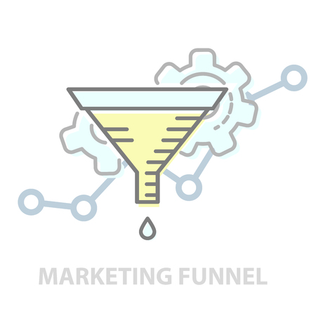 Principles of marketing funnel -  test of marketing strategies, infographics Stock Vector - 124939029