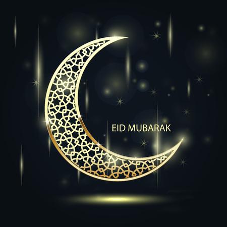 Golden crescent with arabic pattern - eid mubarak sparkling symbol