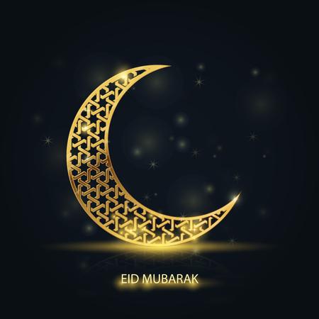 Ramadan Kareem greeting card - islamic crescent with golden arabic pattern  イラスト・ベクター素材