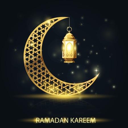 Mezzaluna islamica con lanterna tradizionale, biglietto di auguri Ramadan Kareem Vettoriali