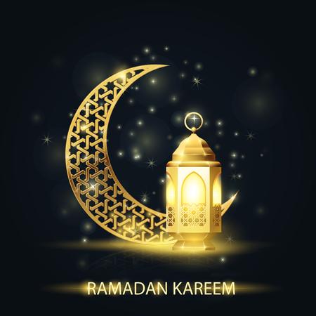 Islamic crescent and lantern covered with arabic pattern - Ramadan Kareem greetings  イラスト・ベクター素材