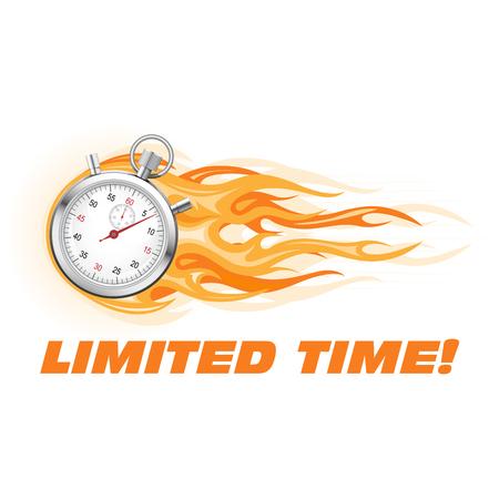 Chronomètre en flammes - bannière d'offre à durée limitée, promotion des ventes