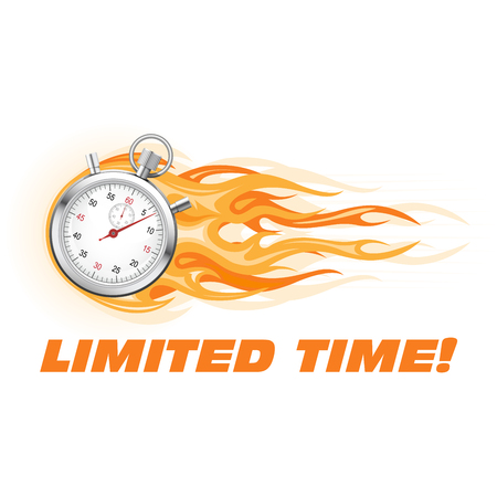 Stopwatch in flame - limited time offer banner, sale promotion