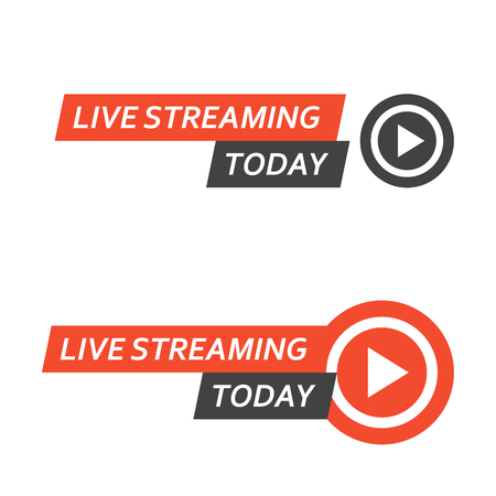 Live streaming  - play button for online broadcasting, live stream icon