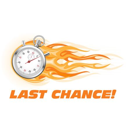 Last chance, hurry up - burning stopwatch icon, hot offer concept