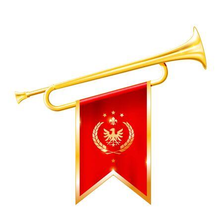 Antique royal horn - trumpet with triumphant flag, triumph concept