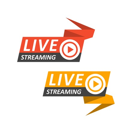 Live streaming logo on banner - play button for online broadcasting, live stream icon