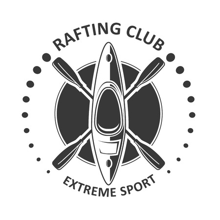 Rafting or kayaking club emblem - canoe, kayak icon Illustration
