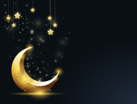 Ramadan Kareem greeting card - crescent and mosque silhouette, hanging stars