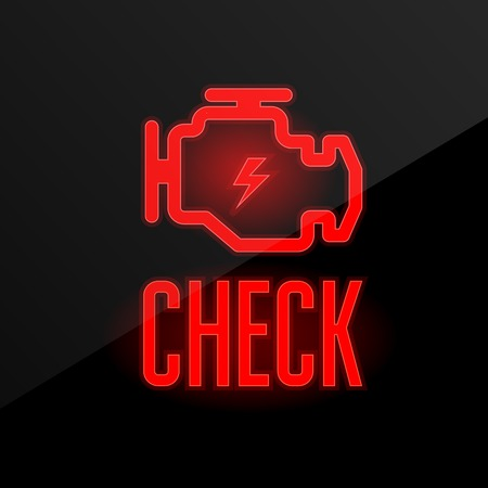 Check engine icon - blinking indicator on dashboard, breakdown alert  イラスト・ベクター素材