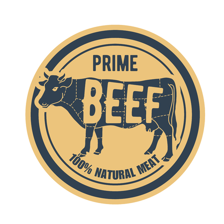Beef stamp - label with cow, natural prime meat badge Illustration