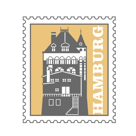 Hamburg city postage stamp - port warehouse, speicherstadt emblem, Germany