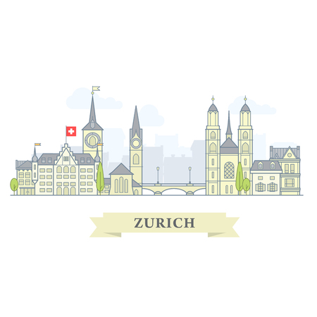 Zurich, Switzerland - old town, city panorama with landmarks of Zurich