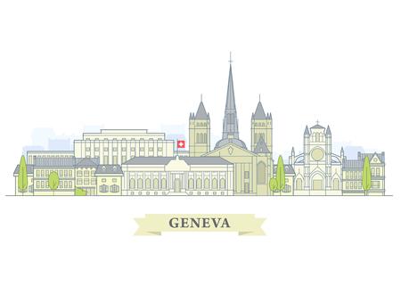 Geneva, Switzerland - old town, city panorama with landmarks of Geneva Illustration