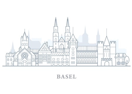 Basel skyline, Switzerland - old town outline, city panorama with landmarks of Basel