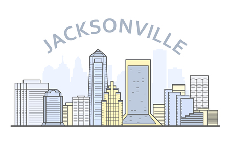 Jacksonville cityscape, Florida - city panorama of Jacksonville, skyline of downtown Stock Vector - 132169346