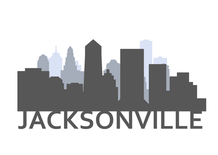 Silhouette of Jacksonville, Florida - skyline of downtown of Jacksonville city Illustration